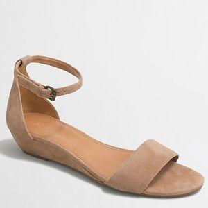 NIB J CREW Suede Saddle Demi Wedge Sandals 10